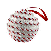 White/Red Candy Cane Bauble 8cm
