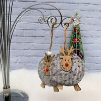Shaggy Reindeer Hang Deco 2 pc - Silver Grey