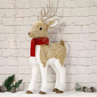 Sisal Reindeer Stand 70cm Red Scarf