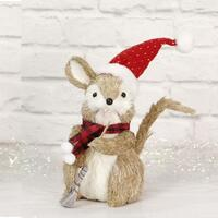 Sisal Squirrel 25cm - Santa Hat