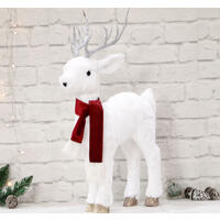 Plush Reindeer 68cm Red Scarf