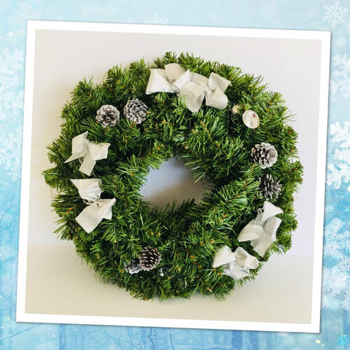 Wreath Silver with Bows 60cm