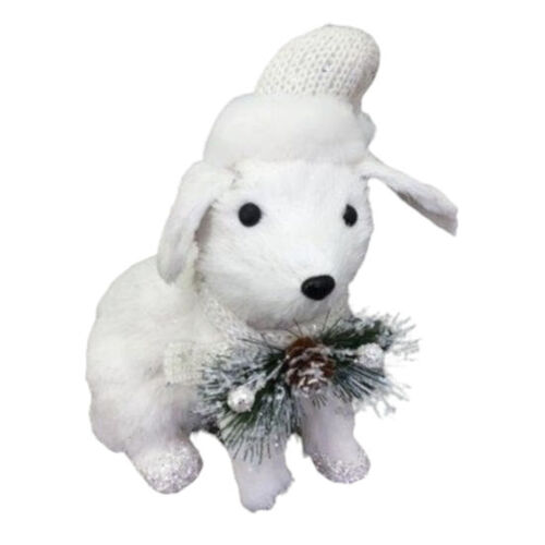 White Dog Sitting 25cm