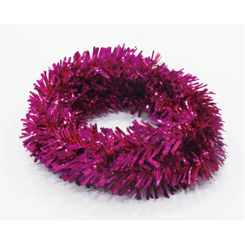 Wired PVC Tinsel Pink 5m