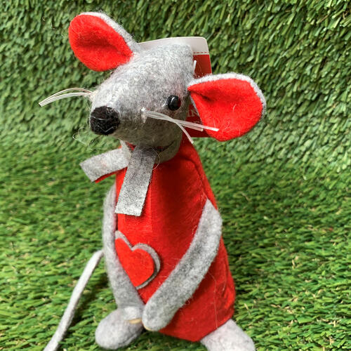 Mouse Standing Felt 20cm - Red