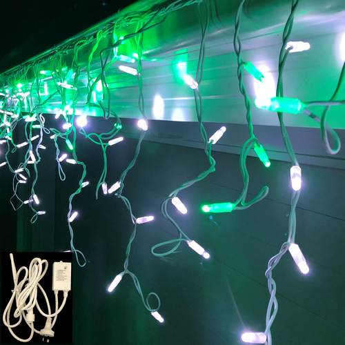 Icicle Lights GREEN/WHITE 4.8m Extendable + Controller