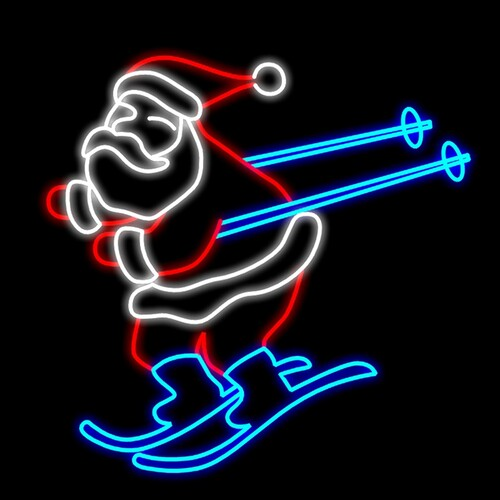 Santa Skiing Motif LED 1.2m